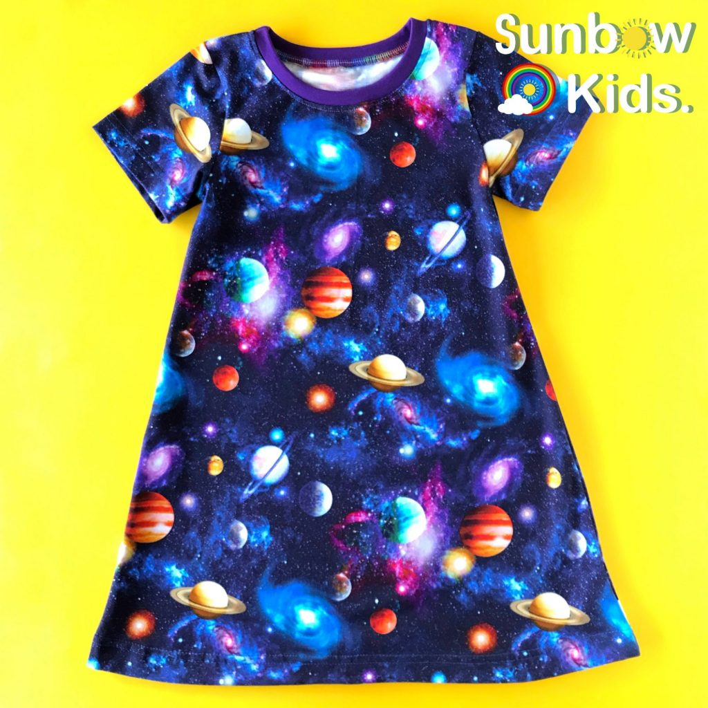 Space nebula handmade dress in cotton jersey, colourful kids clothes