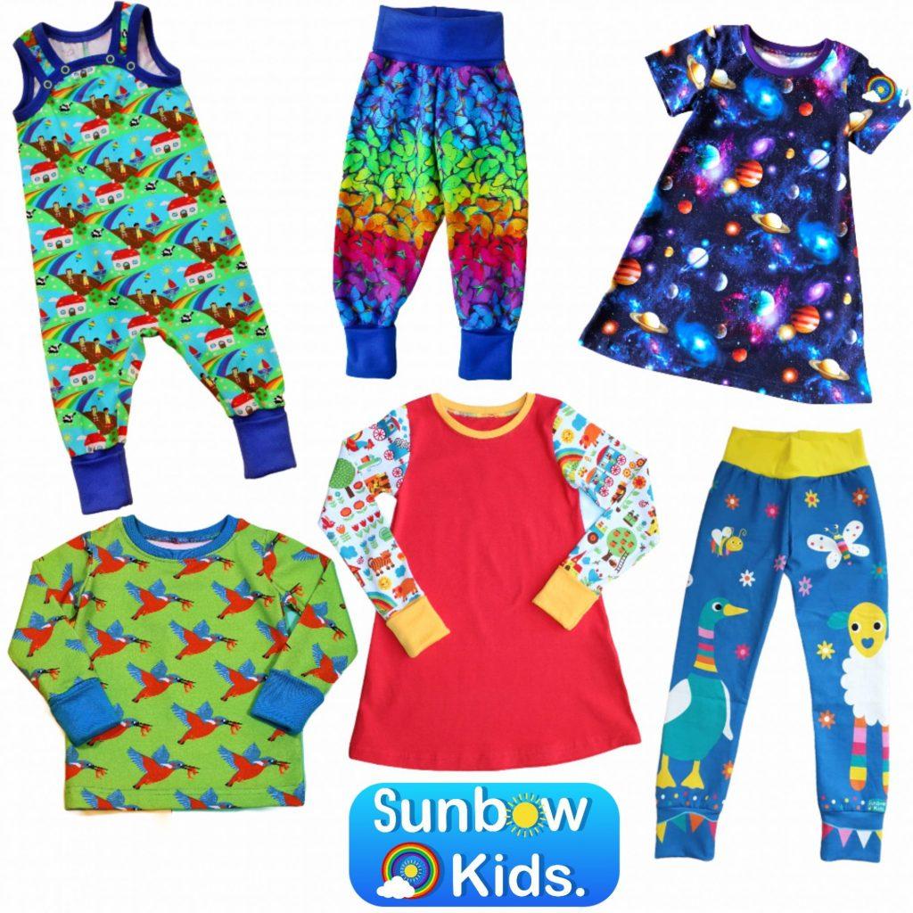 Selection of handmade garments by Sunbow kids in the uk romper dress leggings t-shirt