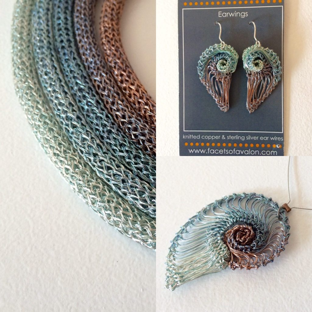 Rope necklace £45 Earwings £35 Spiral pendant £25