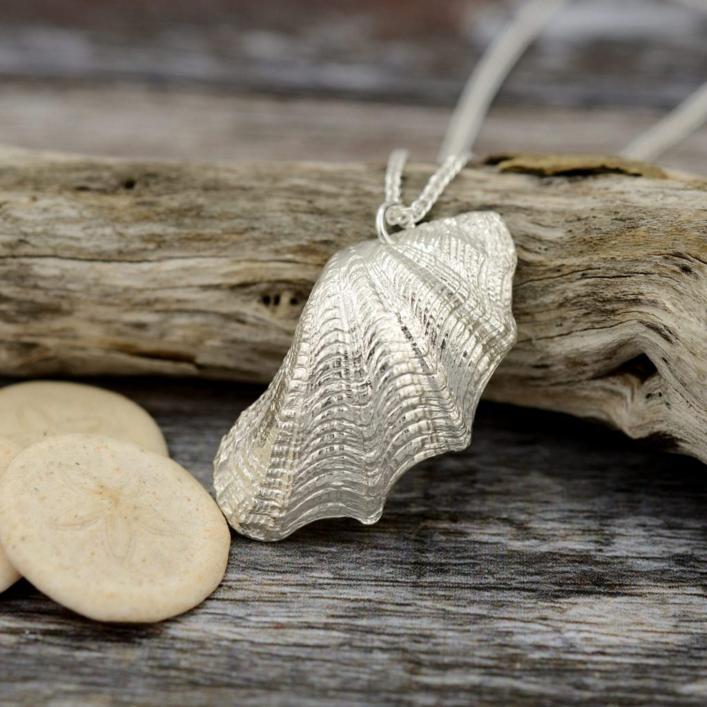 Silver Baby Giant Clam Shell Necklace