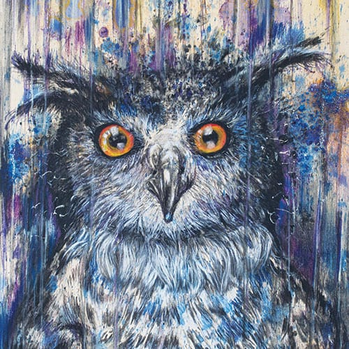 Purple Owl painting on wood panel