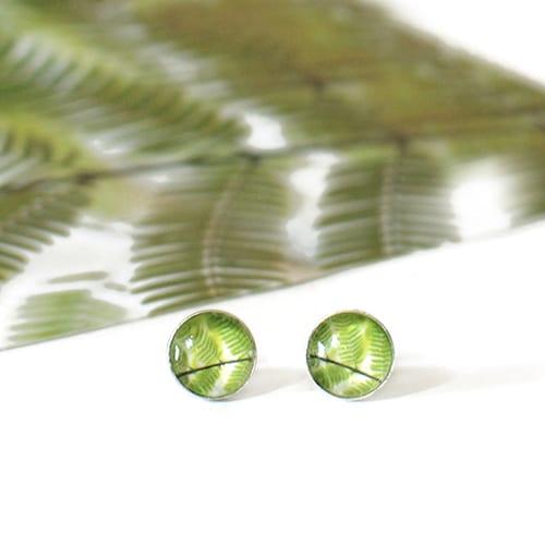 Fern stud earrings, sterling silver