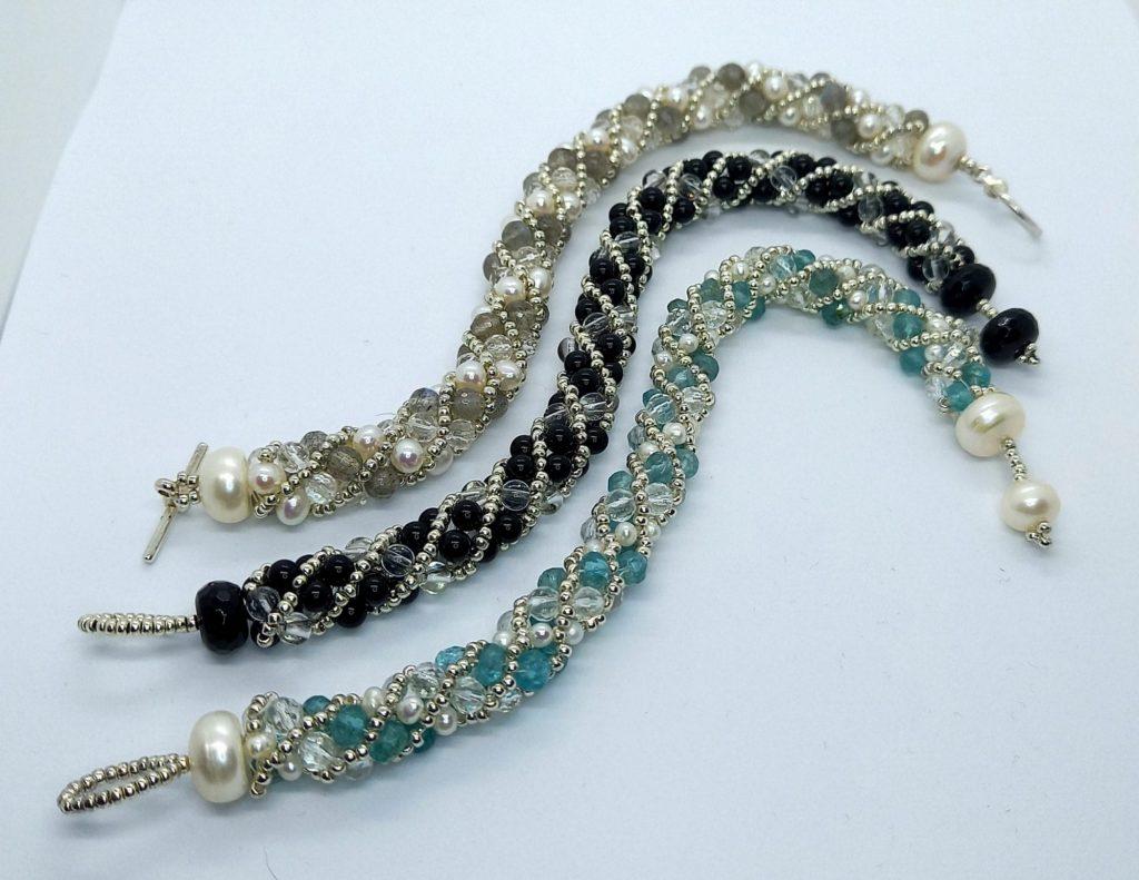 Spiral bracelets with Labradorite, Apatite, Pearls, Onyx, Clear Quartz