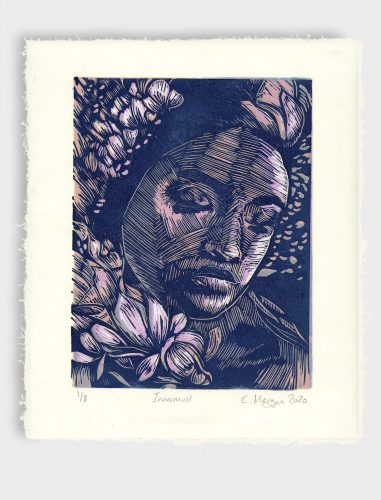 Contemplate reduction lino print 2020