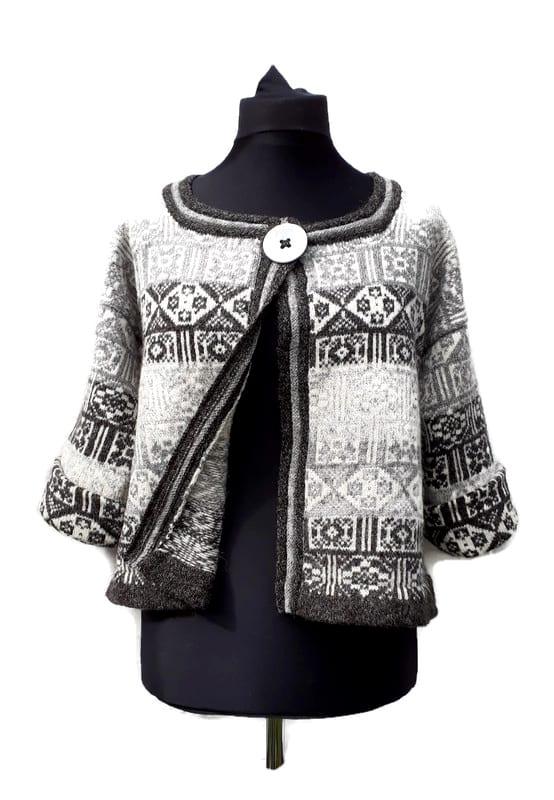semi felted jacket using the natural Shetland greys
