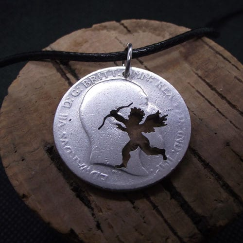 Cupid on a sterling silver Florin