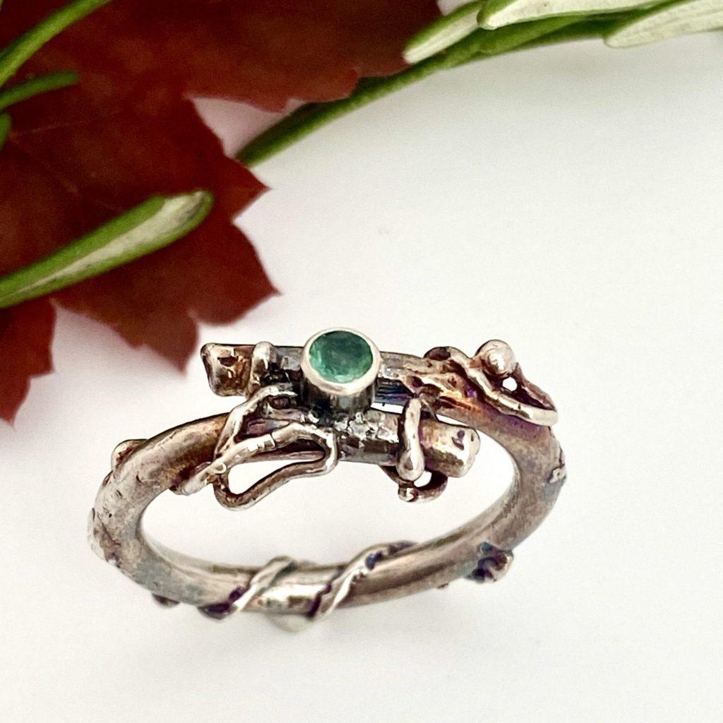 Emerald twig ring