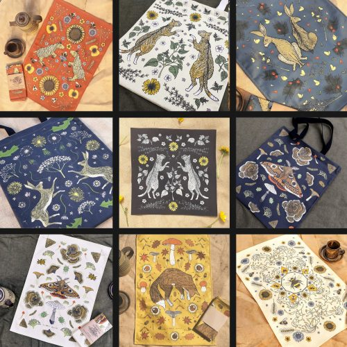 A selection of some customer favorites: tote bags, teatowels,