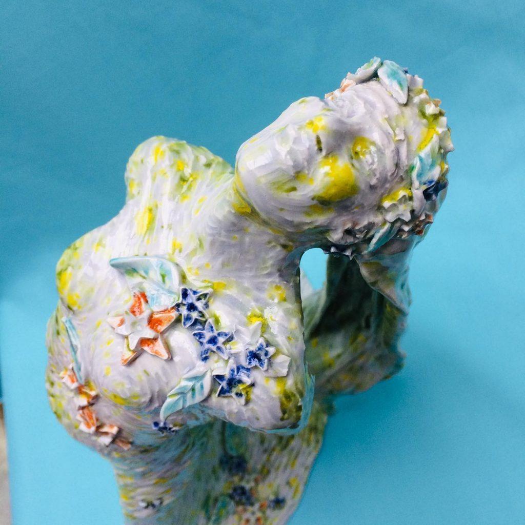 Spring Dryad hand built ceramic sculpture