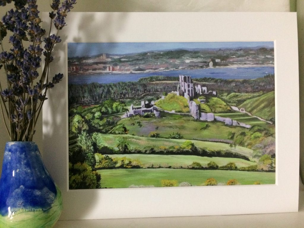 Print of 'Corfe Castle from Chettle' original acrylic on canvas.