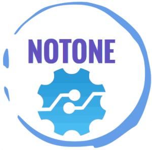Logo notone-lab en couleur cercle bleu lettrage à l'intérieur du cercle