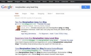 menghasilkan uang lewat blog google search