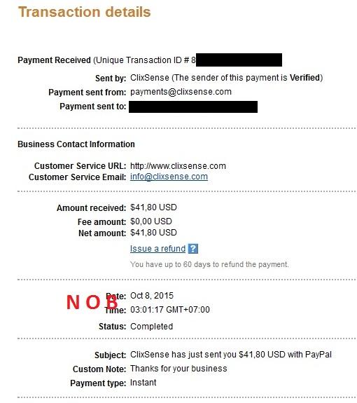 Clixsense Payout October 2015