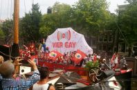 """Vier Gay"" a Dutch pun; vier means both four and celebrate"