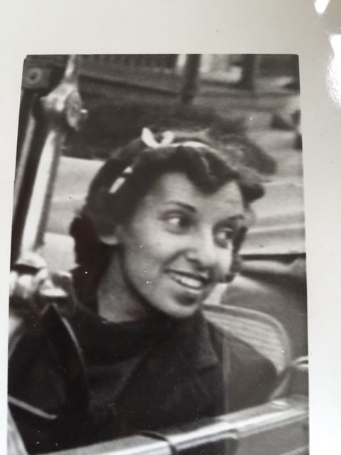 mom in her first car