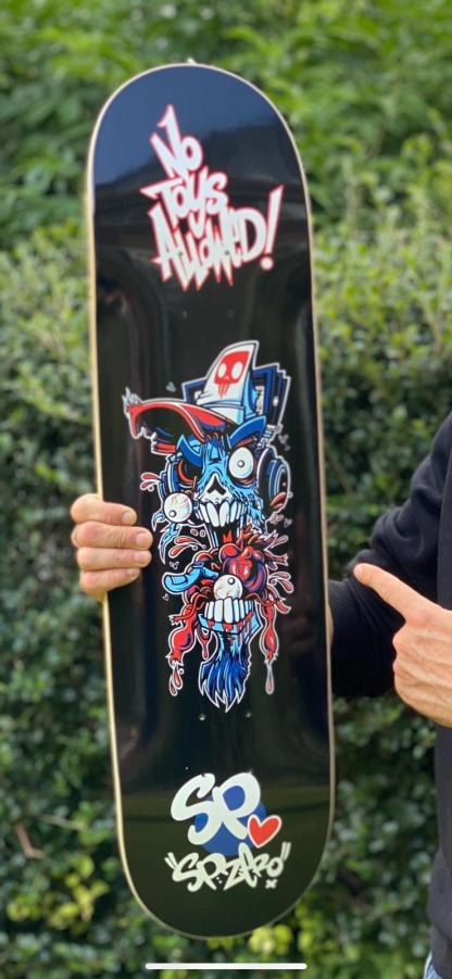 Black No Toys Allowed skateboard Deck