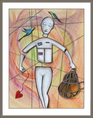 Marianne DuQuette Cuozzo original artwork, woman with birdcage