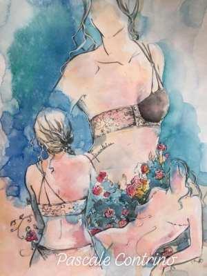 Pascale Contrino original artwork, watercolor, amazons