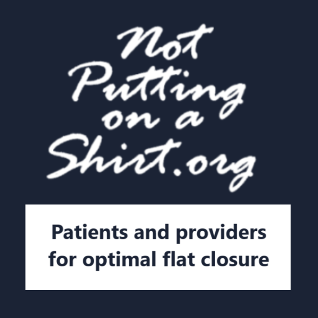 Not Putting on a Shirt Logotype with mission Patients and providers for optimal flat closure