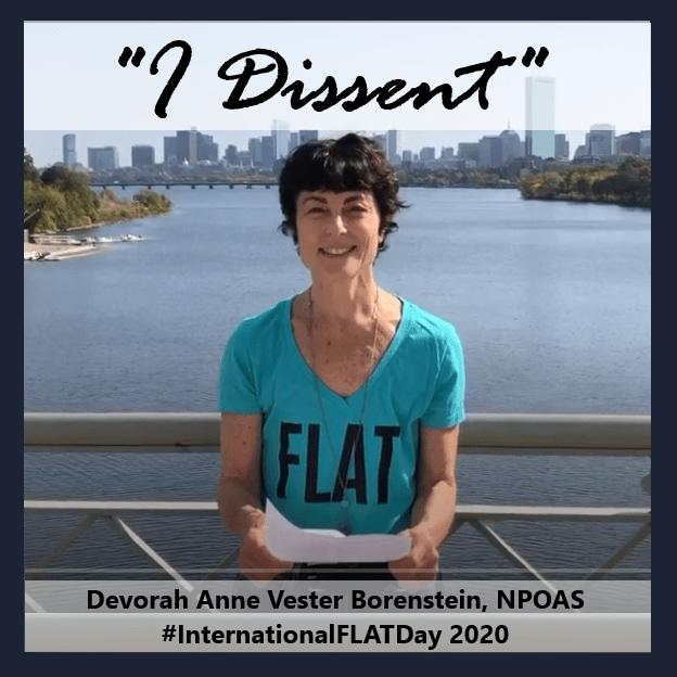 Devorah Anne Vester Borenstein I dissent International FLAT Day flat woman on bridge advocating aesthetic flat closure