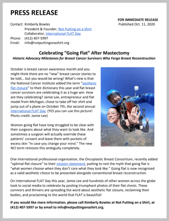 Aesthetic flat closure press release October 2020 - Jamie Lee of Spero Hope, LLC skydiving topless with NCI and OPBC support for women going flat after mastectomy