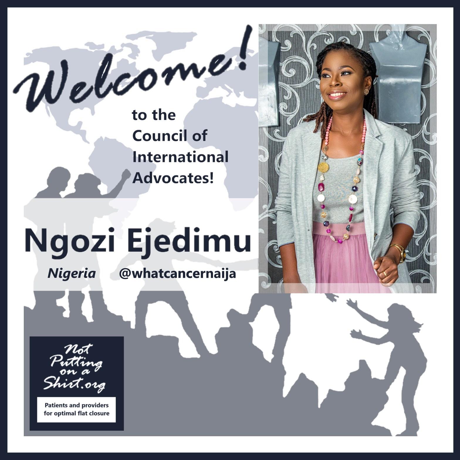 Infographic welcoming Ngozi Ejedimu Council of International Advocates aesthetic flat closure global movement