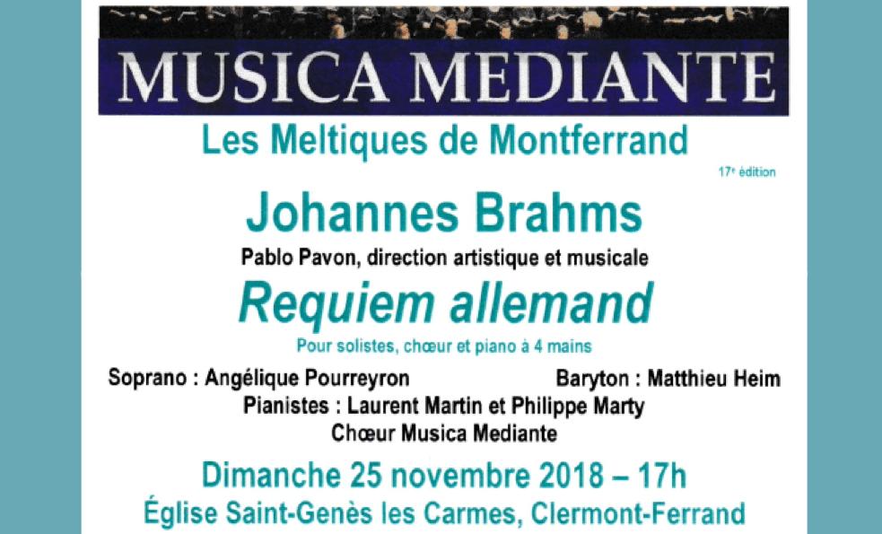 Concert « Requiem allemand » de Brahms le 25 novembre 2018 à 17h00 à Saint-Genès-les-Carmes