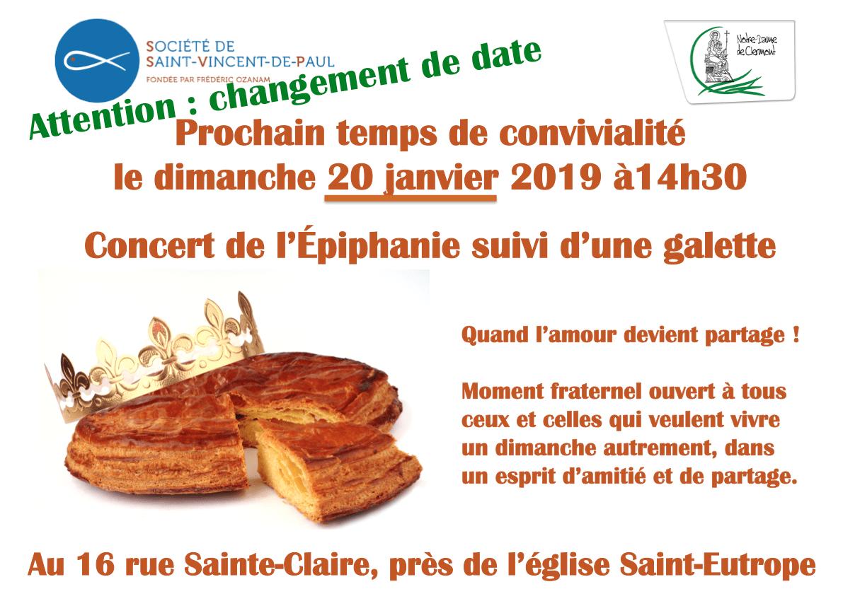 Dimanche 20 janvier 2019 : Concert et galette proposés par la Conférence Saint-Vincent de Paul