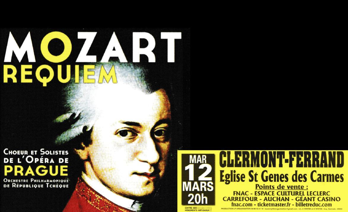 Concert « Requiem » de Mozart le mardi 12 mars 2019 à 20h00 à Saint-Genès-les-Carmes