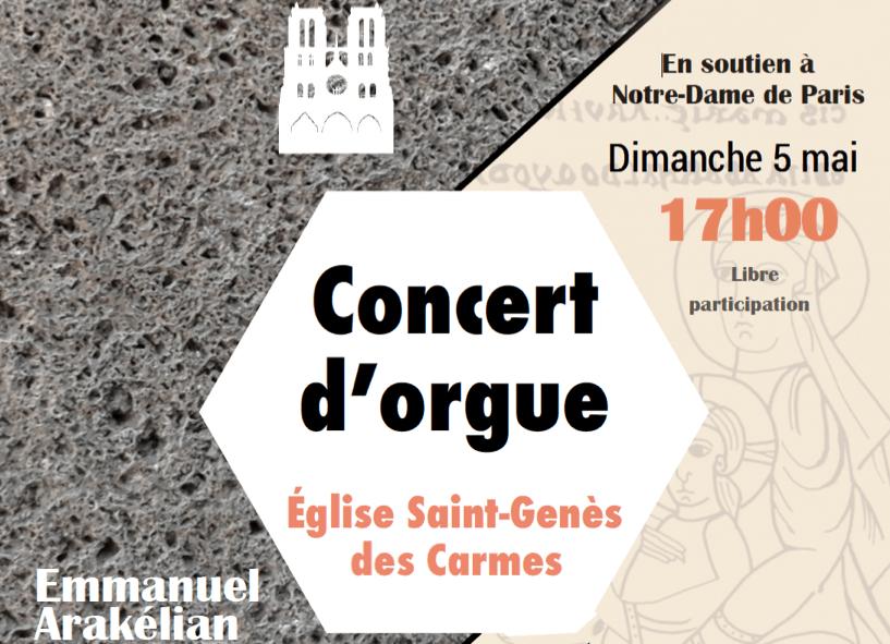 Concert d'orgue en soutien à Notre-Dame de Paris le 5 mai 2019à 17h à Saint-Genès-les-Carmes