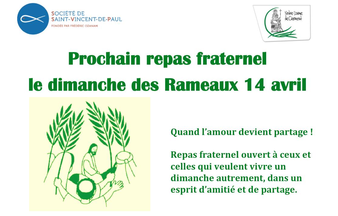 Dimanche 14 avril 2019 : Repas fraternel proposé par la Conférence Saint-Vincent de Paul au 16 rue Sainte-Claire