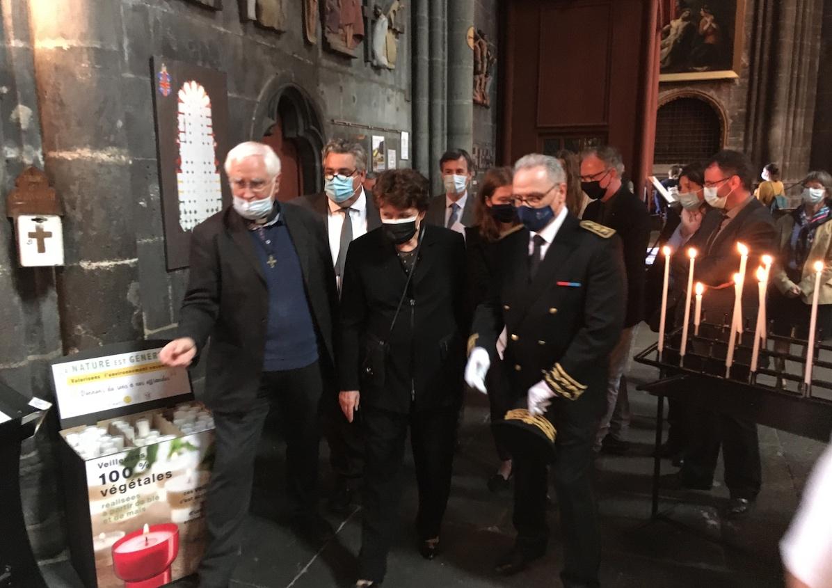 Visite de la cathédrale de Clermont par Madame Roselyne Bachelot, ministre de la Culture, le 28 mai 2021