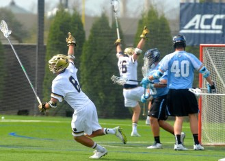 Pat Healy celebrates his first collegiate goal, giving the Irish a 3-2 lead.
