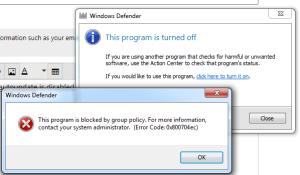 Windows Defender error code 0X800704EC