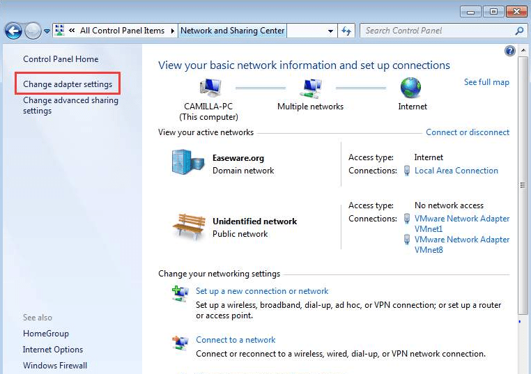 Change adapter settings to fix DNS server not found