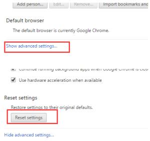 Google Chrome reset settings