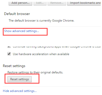 Google Chrome reset settings