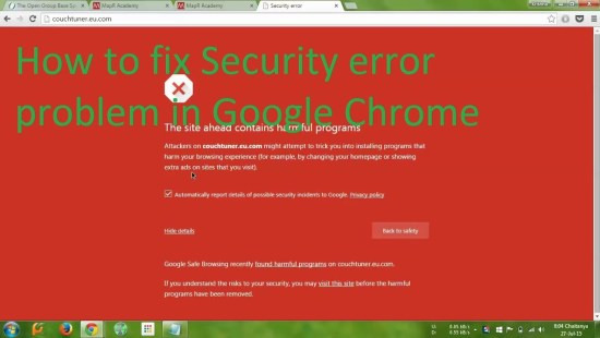 How to fix Chrome's security error