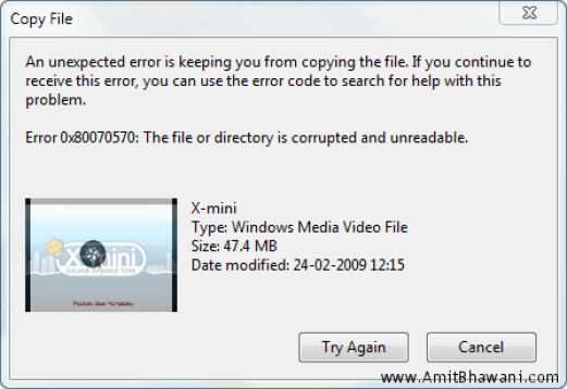The File or Directory is Corrupted and Unreadable Error