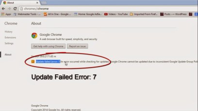 Chrome Update Error