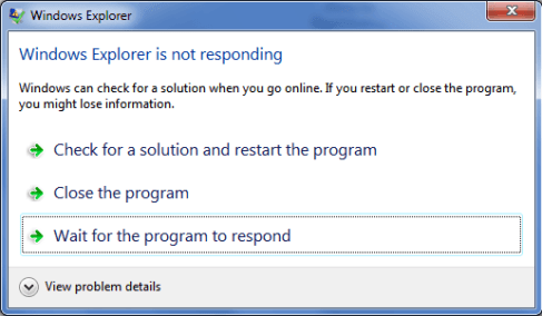 Program not Responding Error