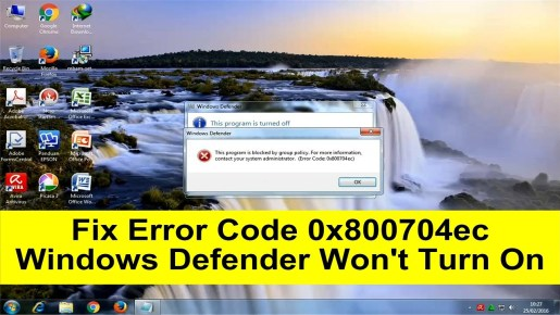 Windows Defender Error Code 0X800704EC