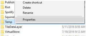 temp file properties