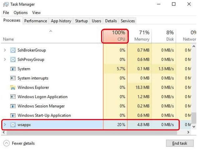 WSAPPX High CPU Use Error Fix