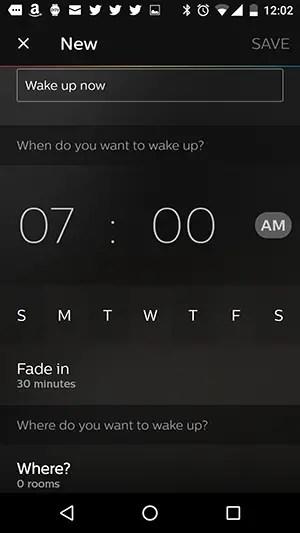 Philips hue wake up time settings