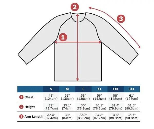 bosch heated jacket size chart