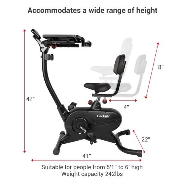 Loctek UF4M Fitness Magnetic Laptop Bike - Height Adjustments