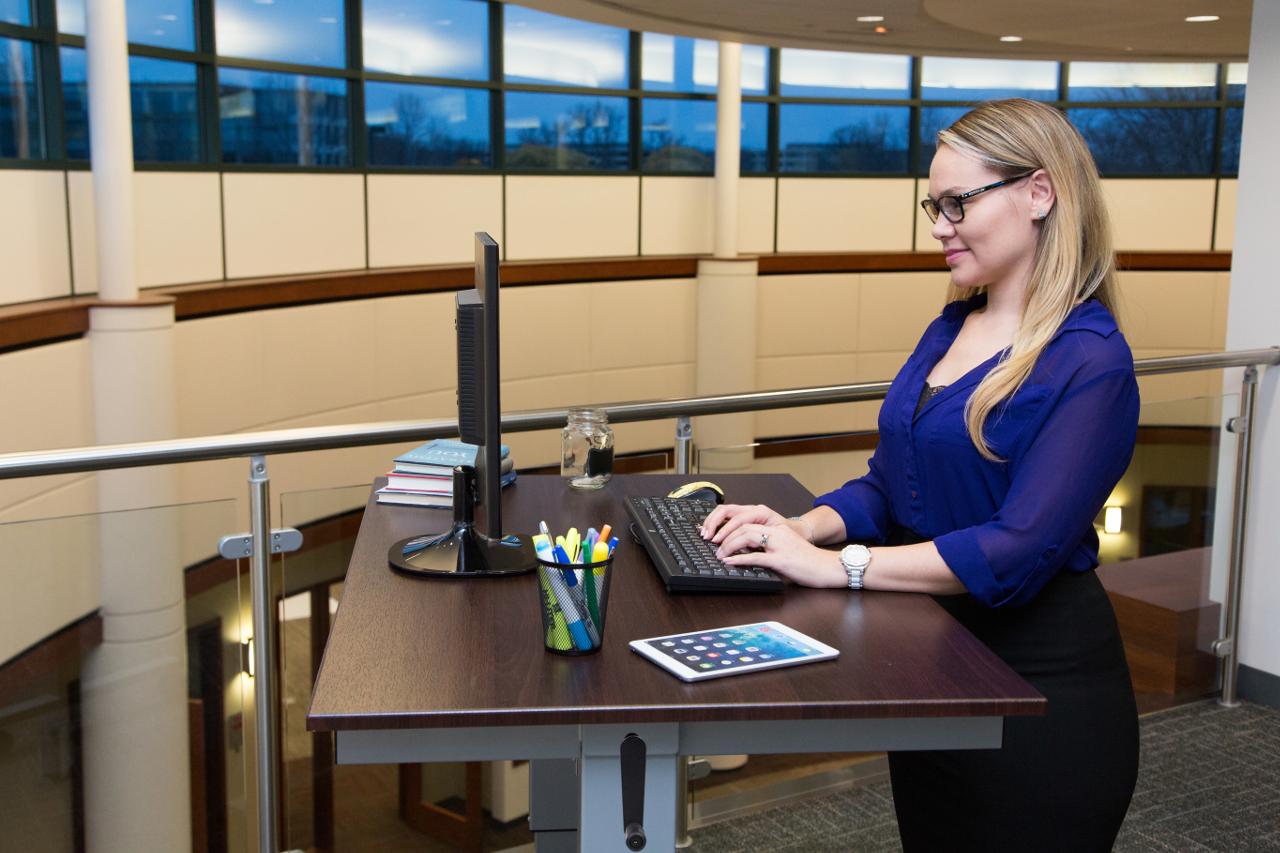 Adjustable stand up desk - Luxor 48 Inch Crank Adjustable Stand Up Desk