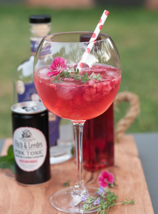 Rose cordial gin and tonic
