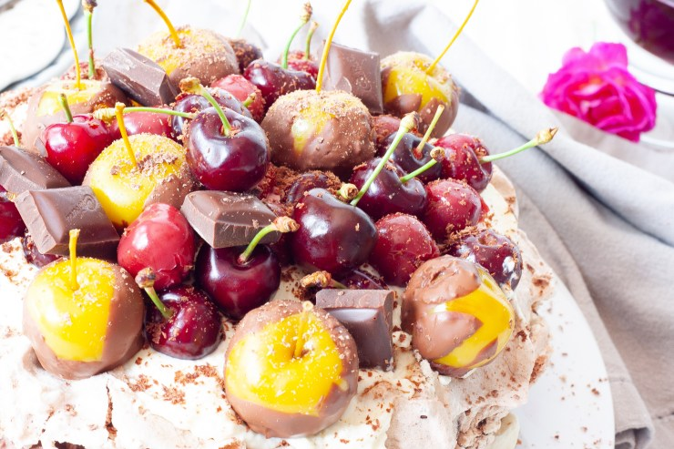 Cherry and chocolate mousse meringue.